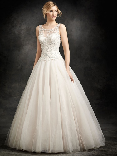 Ball Gown with illusion bodice at Wedding Elegance
