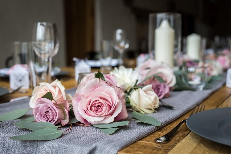Rose and Candle table settings by Brompton Buds